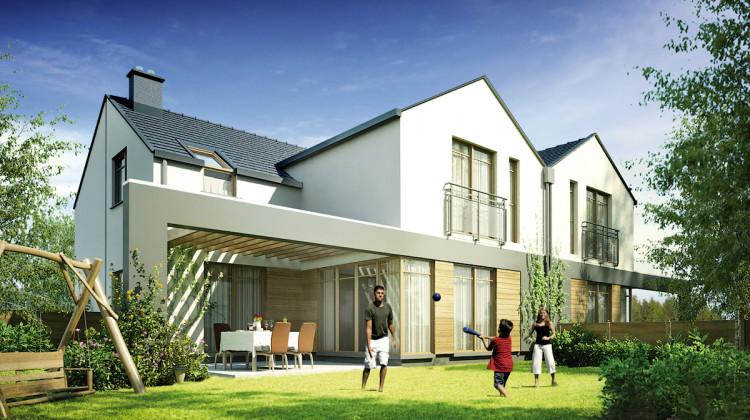 Wizualizacja domów w zabudowie bliźniaczej oddanych przy obecnej ulicy Świstaka do 2016 roku.