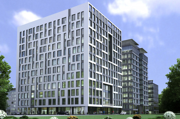 Wizualizacja Olivia Four. Budynek będzie miał nieco inną architekturę. Kolejne budynki będą do niej nawiązywały.