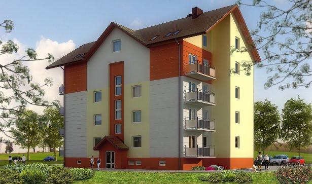 Mieszkania na ostatniej kondygnacji mają skosy.