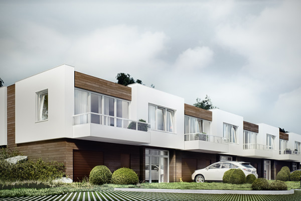 Z balkonów szeregowych domów rozciągał się będzie widok na oczko wodne, nad którym powstaje inwestycja.