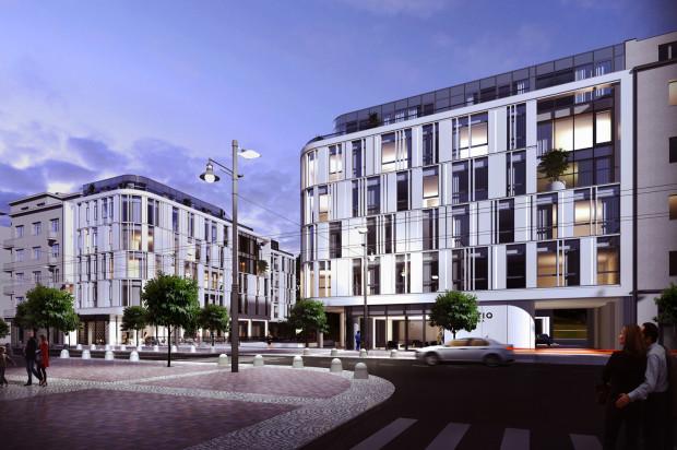 Pomiędzy dwoma bryłami Baltiq Plazy powstać ma wewnętrzne patio wypełnione lokalami usługowymi.