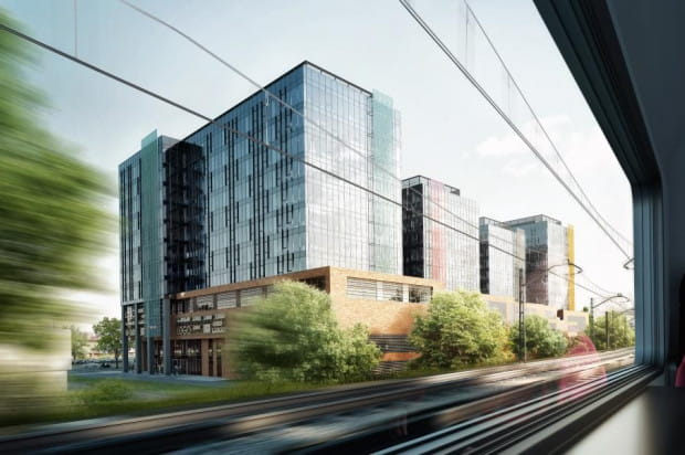 Wizualizacja sprzed powstania II etapu. Z peronu SKM do budynku przejść można nowopowstałym przejściem podziemnym.