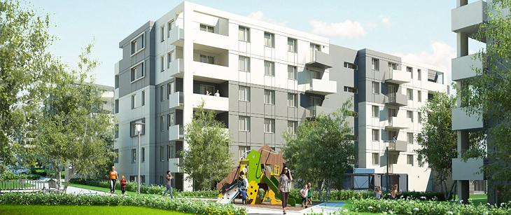 Pomiędzy budynkami powstawać będą place zabaw dla dzieci i mała architektura.