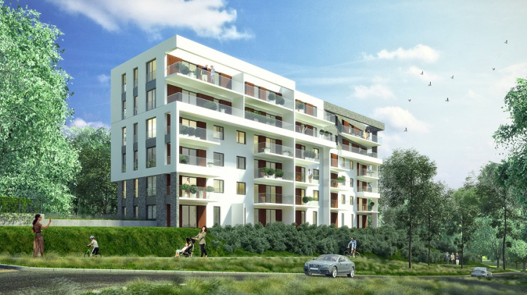Rozrzeźbiona bryła budynku, szklane balustrady i duże przeszklenia decydują o unikalnym charakterze inwestycji.