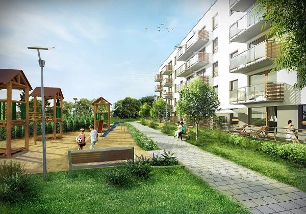 Architektura budynków drugiego etapu inwestycji różni się nieco od pierwszego etapu. Wizualizacja.