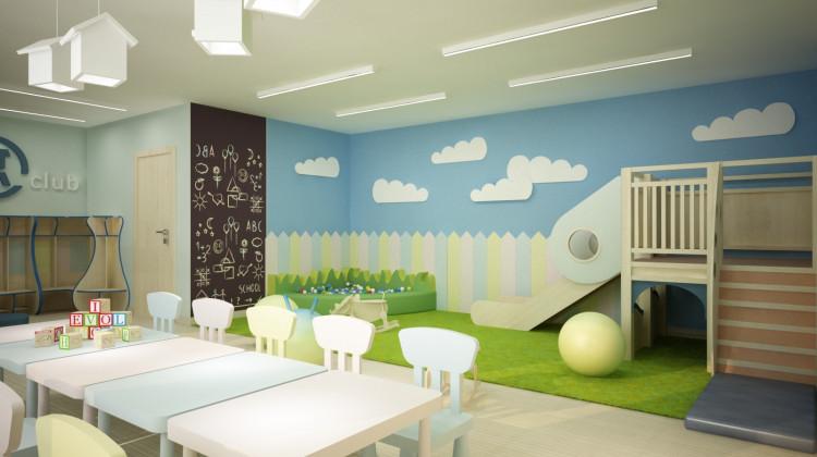 Pomieszczenie klubu dla dzieci wewnątrz jednego z budynków.