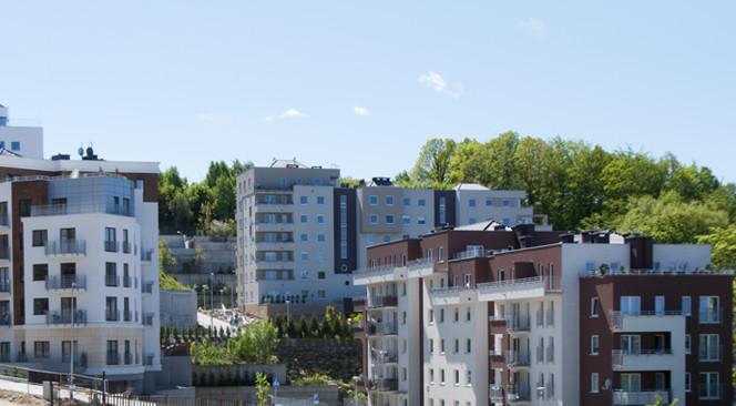 Trzy powstałe dotychczas budynki osiedla.