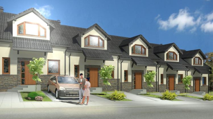 Domy w zabudowie szeregowej nie będą miały garaży. Ich właściciele będą korzystać z miejsc postojowych.