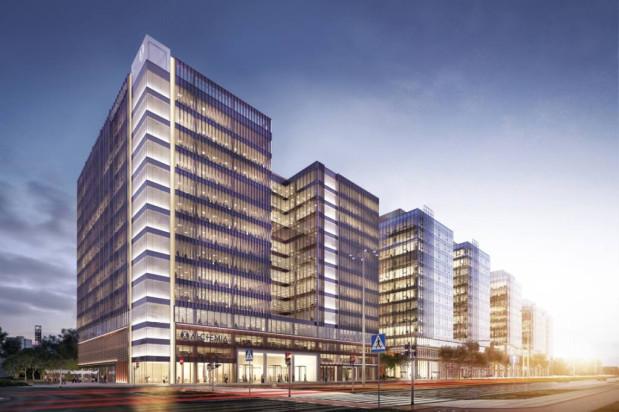 """Wizualizacja III etapu (IV w koncepcji). Narożnik budynku będzie podświetloną, szklaną """"latarnią""""."""