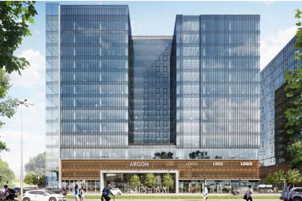 Wizualizacja III etapu kompleksu. Po prawek widoczny przebieg pasażu między budynkami.