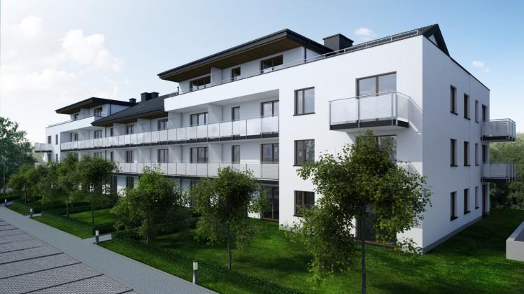 Kameralne budynki otoczone będą drzewami owocowymi pomiędzy którymi powstaje inwestycja.