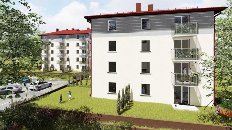 Pierwszy etap. Do mieszkań na parterze przylegały będą indywidualne ogródki.