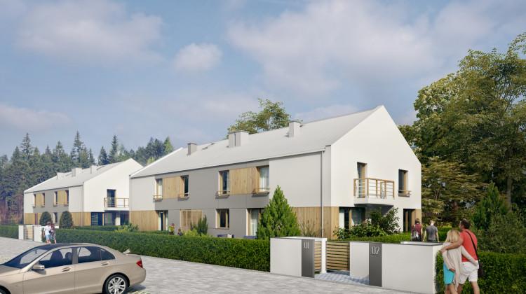 Kameralna zabudowa swoją architekturą wkomponowana zostanie w zielone otoczenie.