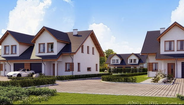 W ramach pierwszego etapu inwestycji na osiedlu powstaje sześć domów w zabudowie bliźniaczej.