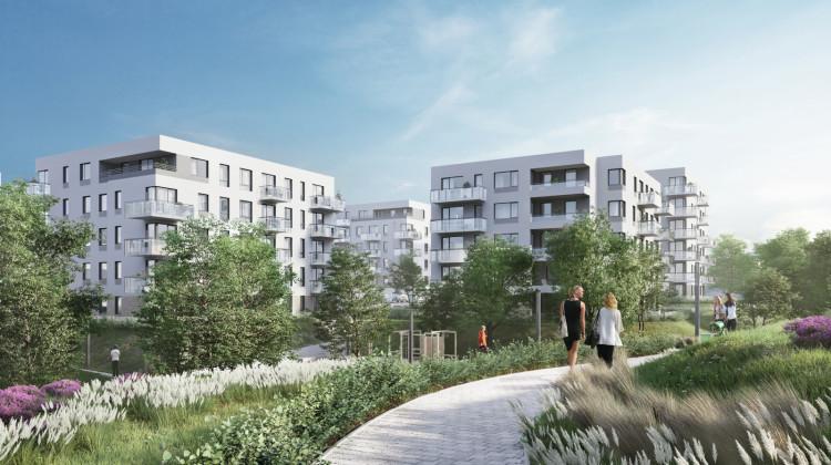 Budynki osiedla otoczone zostaną specjalnie zaprojektowaną zielenią.