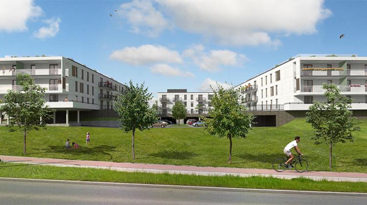 Pomiędzy budynkami osiedla powstanie ciekawie zaaranżowana przestrzeń wspólna.