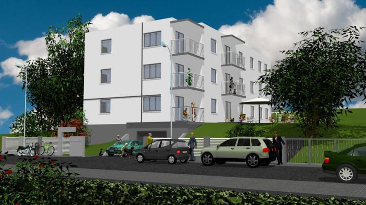 Budynek będzie miał trzy kondygnacje mieszkalne i podziemną halę garażową.