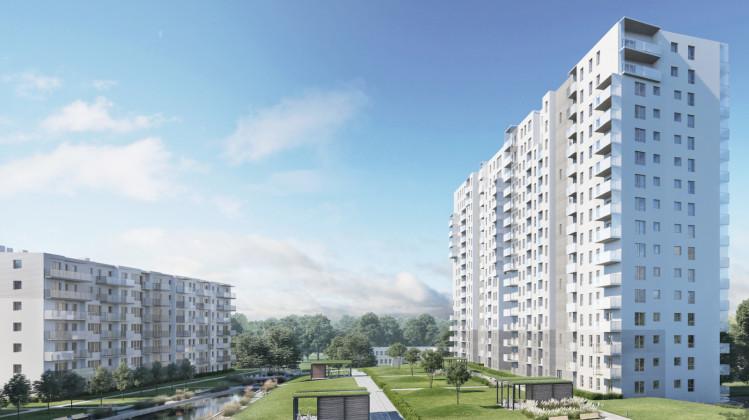 Wizualizacja z okresu zapowiedzi realizacji budynków 17 piętrowych.
