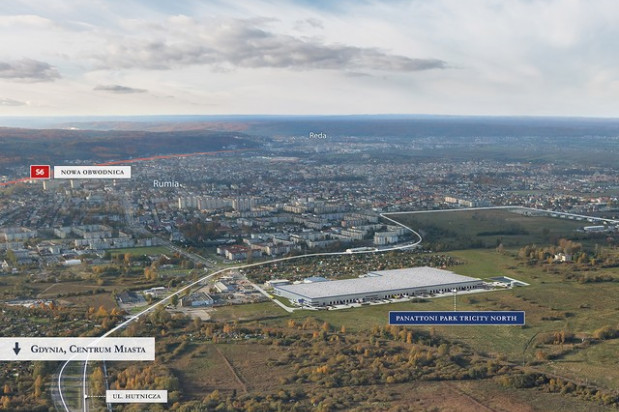 Magazyn powstaje na granicy Rumi i Gdyni.