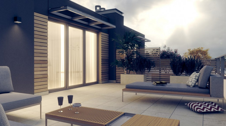 Wizualizacja budynku powstałego w pierwszym etapie inwestycji.