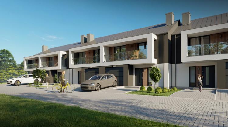 Szereg domów będzie miał oryginalną, nowoczesną architekturę.