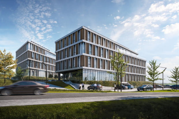 Kompleks biurowy tworzyły będą dwa budynki w standardzie B+.