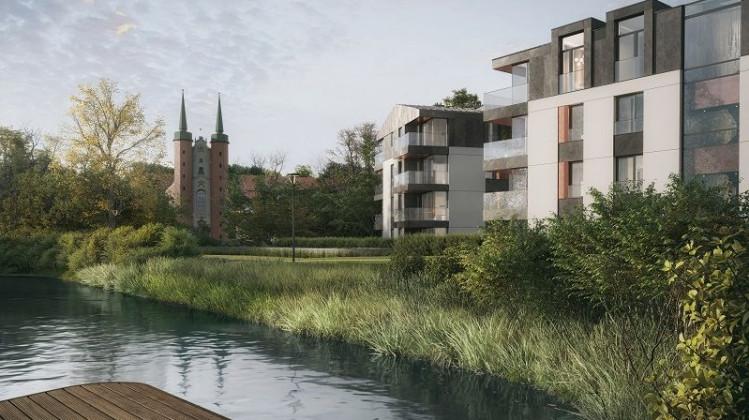 Tuż obok nowych budynków powstanie staw, z nad którego, z perspektywy, podziwiać będzie można Archikatedrę Oliwską.