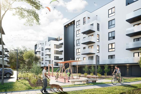 Przestrzenie między budynkami zostaną wypełnione zielenią, placami zabaw i miejscami rekreacji.