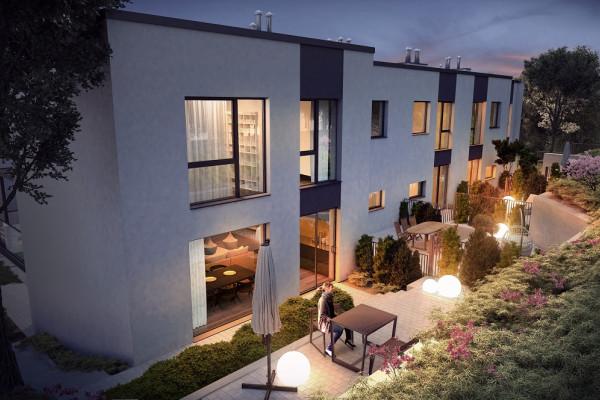 Domy w zabudowie szeregowej powstaną od strony ulicy Pagórkowej.