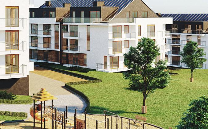 Budynki będą miały dwuspadowe dachy, dzięki czemu na najwyższych piętrach powstaną mieszkania ze skosami.