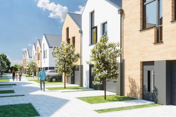 Pomiędzy domami powstanie wewnętrzna uliczka, co całości nada kameralny charakter. Łatwo będzie tu stworzyć sąsiedzką atmosferę.