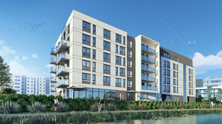 Budynek powstaje nad zbiornikiem retencyjnym, z części mieszkań będzie zatem widok na wodę.