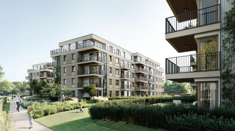 Przestrzeń pomiędzy budynkami będzie wyłączona z ruchu kołowego. Została ona zaprojektowana jako rodzina strefa rekreacji wśród zieleni.