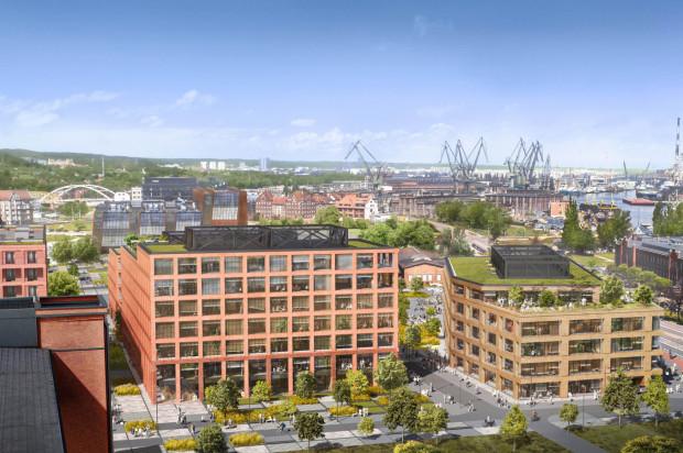 Dwa budynki biurowe swoimi ceglanymi elewacjami komponowały się będą z historyczną zabudową i nowym osiedlem Doki Living.