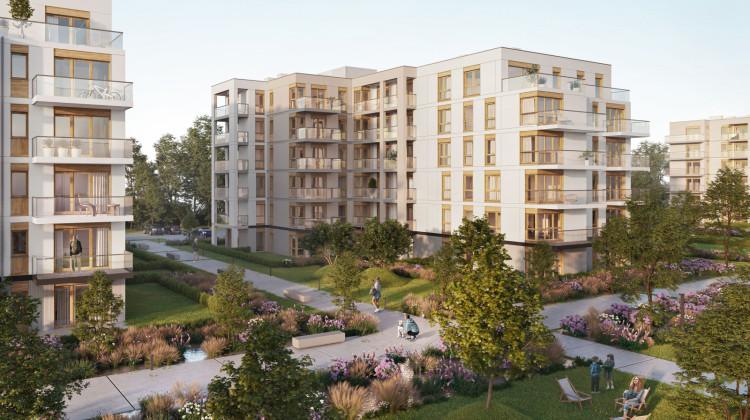 Przestrzeń pomiędzy budynkami osiedla będzie terenem zielonym wyłączonym z ruchu kołowego.
