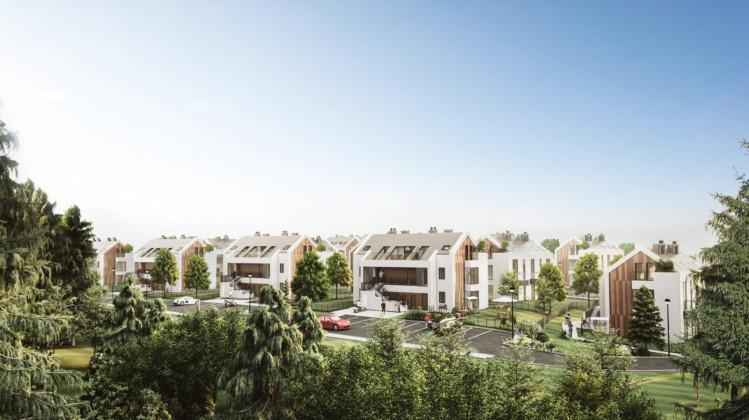 Niewielkie budynki otoczone zielenią stworzą osiedle wkomponowane w nadmorski nastrój związany z lokalizacją.