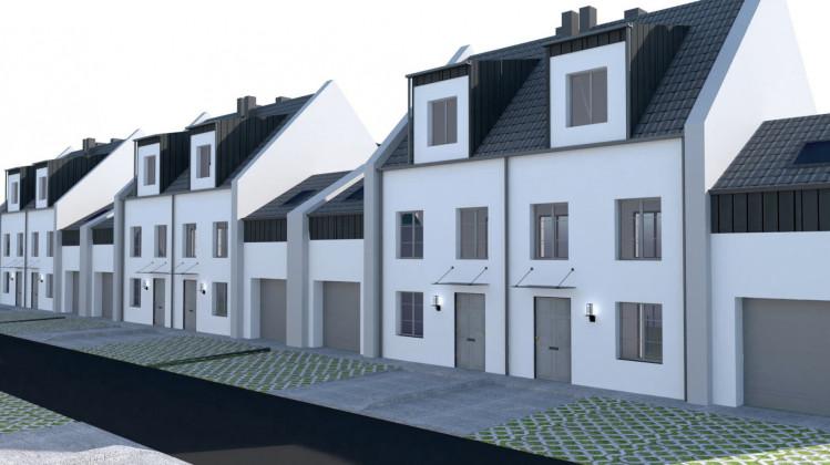 Obok domów powstaną garaże, a nad nimi dodatkowe pomieszczenie do dowolnej aranżacji.