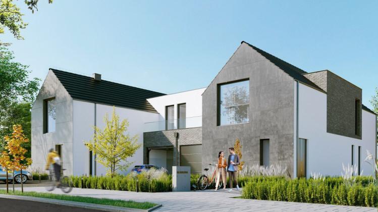 Nowoczesna, minimalistyczna architektura odróżnia projekt od innych osiedli domów jednorodzinnych.
