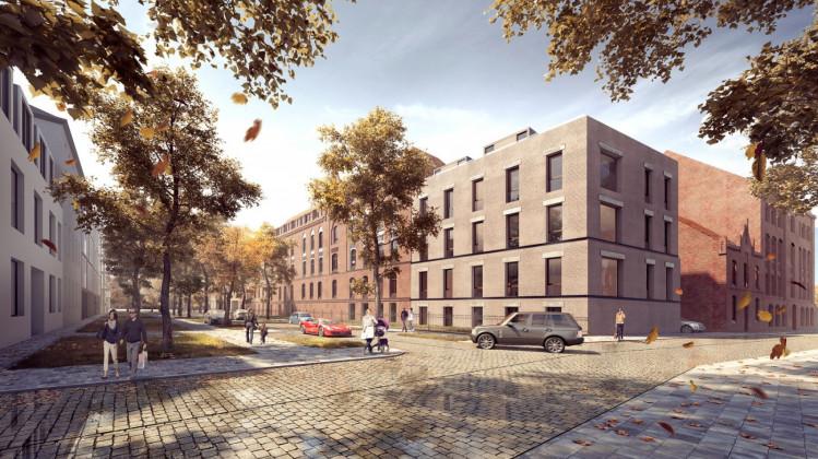 W ciągu ceglanej zabudowy, u zbiegu ul. Kieturakisa i Reduty Wyskok, powstaje nowy, architektonicznie dopasowany do kompleksu budynek.