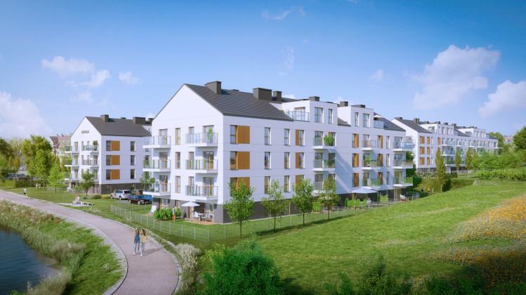 Nowe budynki swoją stonowaną architekturą wkomponują się w okoliczną zabudowę tworząc spójną całość.