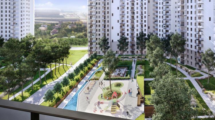 Pomiędzy budynkami zaplanowana została część rekreacyjna dla małych i dużych mieszkańców osiedla.