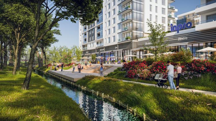 Nowe tereny rekreacyjne nad Zagórską Strugą płynnie przenikać się będą z przestrzenią osiedla.