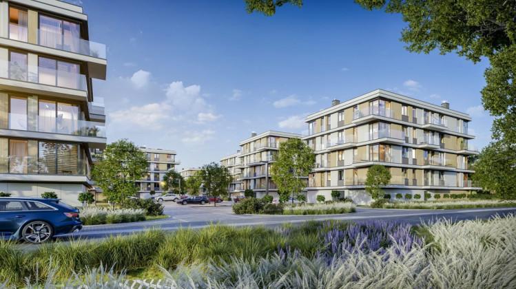 Pomiędzy budynkami pozostawione zostanie dużo przestrzeni, która wypełniona będzie zielenią i miejscami do rekreacji.