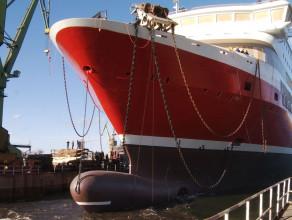 Wodowanie Bergensfjord w Stoczni Gdańsk