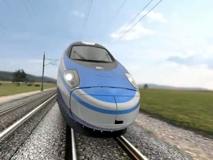 Wizualizacja. Pociąg Pendolino wbarwach PKP Intercity.