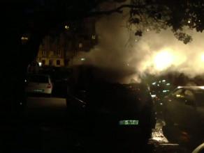 Pożar busa  na parkingu, przy CH Batory