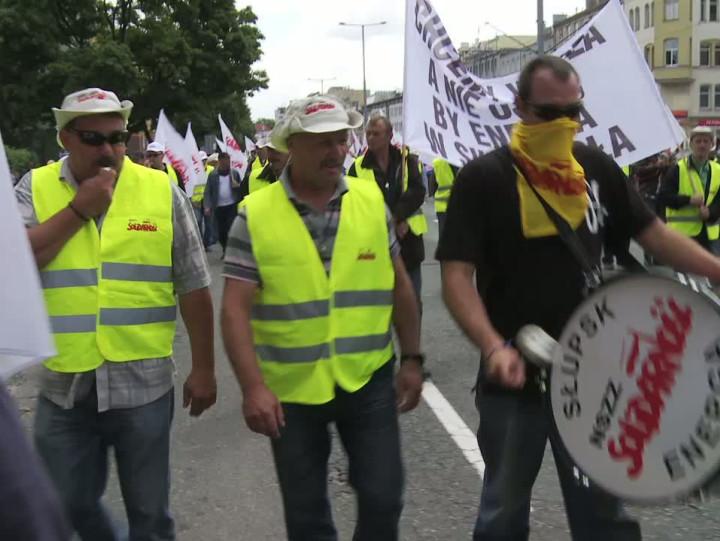 Protesty związkowców Energi w2013 roku.