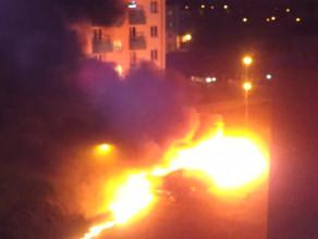 Nocny pożar aut na Łostowicach