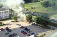 Pożar baraku przy Dąbrowszczaków na Przymorzu