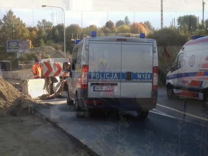 Wypadek na ul. Rakoczego przy budowanej stacji PKM wGdańsku.